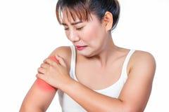 Femme asiatique ayant la douleur de bras Photo stock
