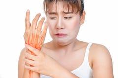 Femme asiatique ayant la douleur de main Images libres de droits