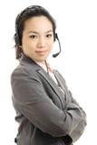Femme asiatique d'affaires avec le casque Photographie stock libre de droits