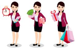 Femme asiatique d'affaires dans des vêtements de bureau illustration stock