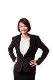Femme asiatique d'affaires dans le sourire de procès Photos stock