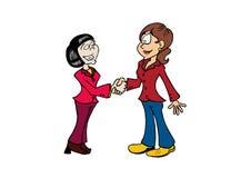 Femme asiatique de poignée de main et femme européenne illustration de vecteur