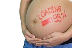 Femme asiatique enceinte avec le mot de pinceau - chargement et figur Image libre de droits