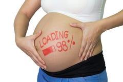 Femme asiatique enceinte avec le mot de pinceau - chargement et figur Images stock