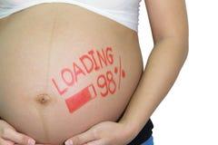 Femme asiatique enceinte avec le mot de pinceau - chargement et figur Photo libre de droits