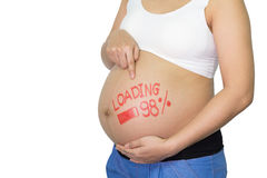 Femme asiatique enceinte avec le mot de pinceau - chargement et figur Images libres de droits