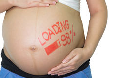 Femme asiatique enceinte avec le mot de pinceau - chargement et figur Photos stock