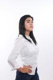 Femme asiatique fière et forte au-dessus de blanc Photos libres de droits