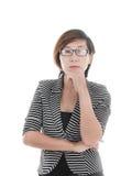 Femme asiatique futée d'affaires sur le blanc image libre de droits
