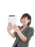 Femme asiatique futée d'affaires sur le blanc image stock