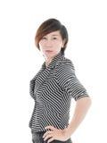 Femme asiatique futée d'affaires sur le blanc photo stock