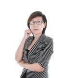 Femme asiatique futée d'affaires sur le fond blanc photos libres de droits