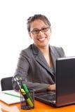 Femme asiatique heureuse d'affaires Images libres de droits