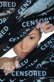 Femme asiatique jetant un coup d'oeil dans l'espace Photo stock
