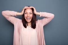 Femme asiatique joyeuse Image stock