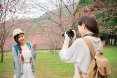 Femme asiatique prenant des photos de photo Image stock