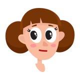 Femme assez brune de cheveux, expression du visage neutre Images stock