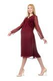 Femme assez enceinte dans la robe rouge d'isolement sur Images stock