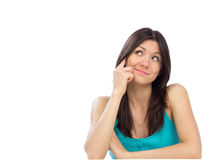 Femme assez gaie parlant sur le téléphone portable Images stock