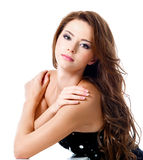 Femme attirant avec de longs poils bruns Photo stock