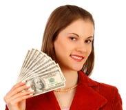 Femme attirant d'affaires avec de l'argent Photographie stock libre de droits