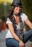 Femme attirant de Caucasien de brunette d'années '40 Images stock