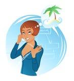 Femme attirant parlant au téléphone illustration libre de droits