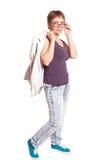 Femme attirante 50 ans d'isolement sur le fond blanc Photo stock