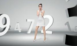 Femme attirante avec le fond abstrait illustration stock