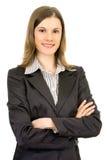 Femme attirante d'affaires. D'isolement sur le blanc Images libres de droits