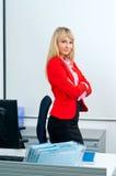 Femme attirante d'affaires dans le bureau avec l'ordinateur photo libre de droits