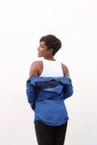 Femme attirante d'afro-américain par derrière Photographie stock