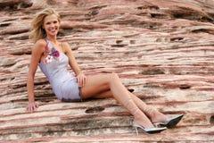 Femme attirante dans la robe Photographie stock libre de droits