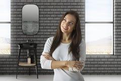 Femme attirante dans la salle de bains Photos libres de droits