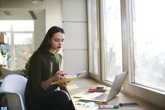 Femme attirante futée lisant le livre intéressant et travaillant sur l'ordinateur moderne dans l'intérieur coworking de l'espace Photographie stock