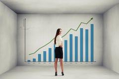 Femme au-dessus de grand graphique avec la dynamique positive Photo stock