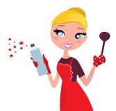 Femme au foyer à cuire et de nettoyage de Noël mignon, rétro Image libre de droits