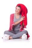 Femme au foyer après la prise de la douche Photographie stock libre de droits