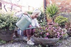 Femme au foyer attirante arrosant ses fleurs avec amour Images libres de droits