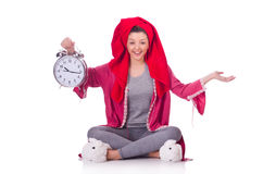 Femme au foyer avec l'horloge Photographie stock