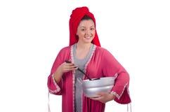 Femme au foyer avec le pot Images stock