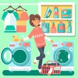 Femme au foyer dans la buanderie avec le panier de machine à laver et l'illustration plate de style de produits domestiques Images libres de droits