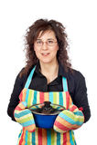 Femme au foyer dans le tablier Image libre de droits