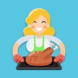 Femme au foyer de dinde de poulet frit avec l'illustration plate de vecteur de conception de caractère de cuisson Image stock