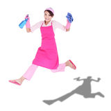 Femme au foyer enthousiaste heureuse de femme photographie stock libre de droits