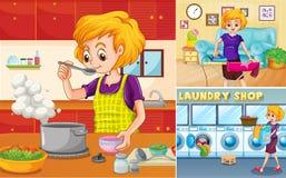 Femme au foyer faisant différentes corvées dans la maison illustration stock