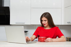 Femme au foyer fascinante faisant des emplettes en ligne Images stock