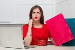 Femme au foyer fascinante faisant des emplettes en ligne Image stock