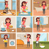 Femme au foyer Nettoyage, faisant cuire, lavant, Photos stock