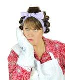 Femme au foyer terminalement ennuyée Photographie stock libre de droits